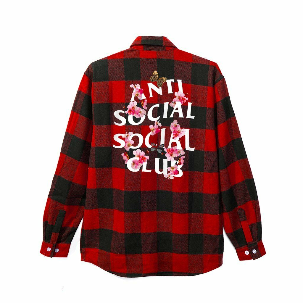 Anti Social Social Club Kkoch Flannel Red Floral Size S M L XL W Receipt