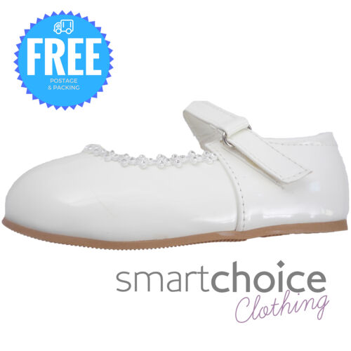 Baby Girls White Christening Shoes Wedding Baptism Special Occasion Shoes
