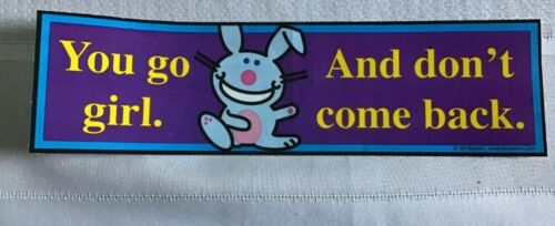 "8 1//2/""x 2 1//2/"" for cars bumpers Happy Happy Bunny Stickers books mirrors #2"