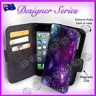 Designer Apple iPhone 5C Wallet Flip Card Case Art Collection Purple Galaxy 30