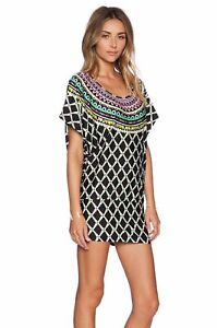 NWT-Trina-Turk-Kon-Tiki-Tunic-Mini-Dress-Cover-Up-Stretch-Jersey-L-Black