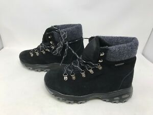 Details about Womens Skechers (48817) D'LITES POWDER Black mid calf Sneakers Boots (27B)