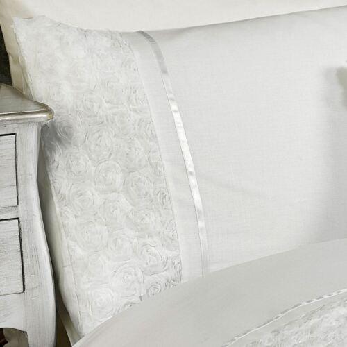 LIMOGES ROSE RUFFLE WHITE SUPER KING SIZE DUVET COVER /& PILLOWCASE SET