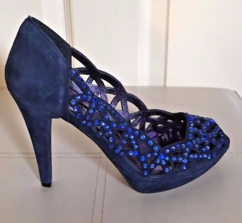 36 Blue Eu Peep Suede Uk Shoes Barachini Toes Studded 3 Size Stones Dressy gqFzwAd