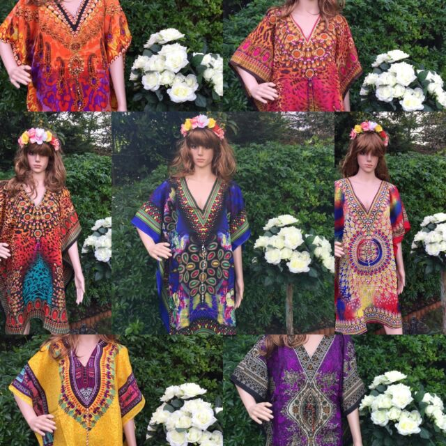 New Digital print free size hippie boho kimono sleeve Kaftan dress Tunic top