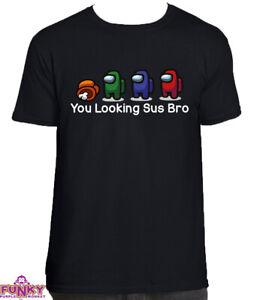Among Us You Looking Sus Bro Adults/KIDS BLACK T-Shirt Tee Top Gaming Gamer