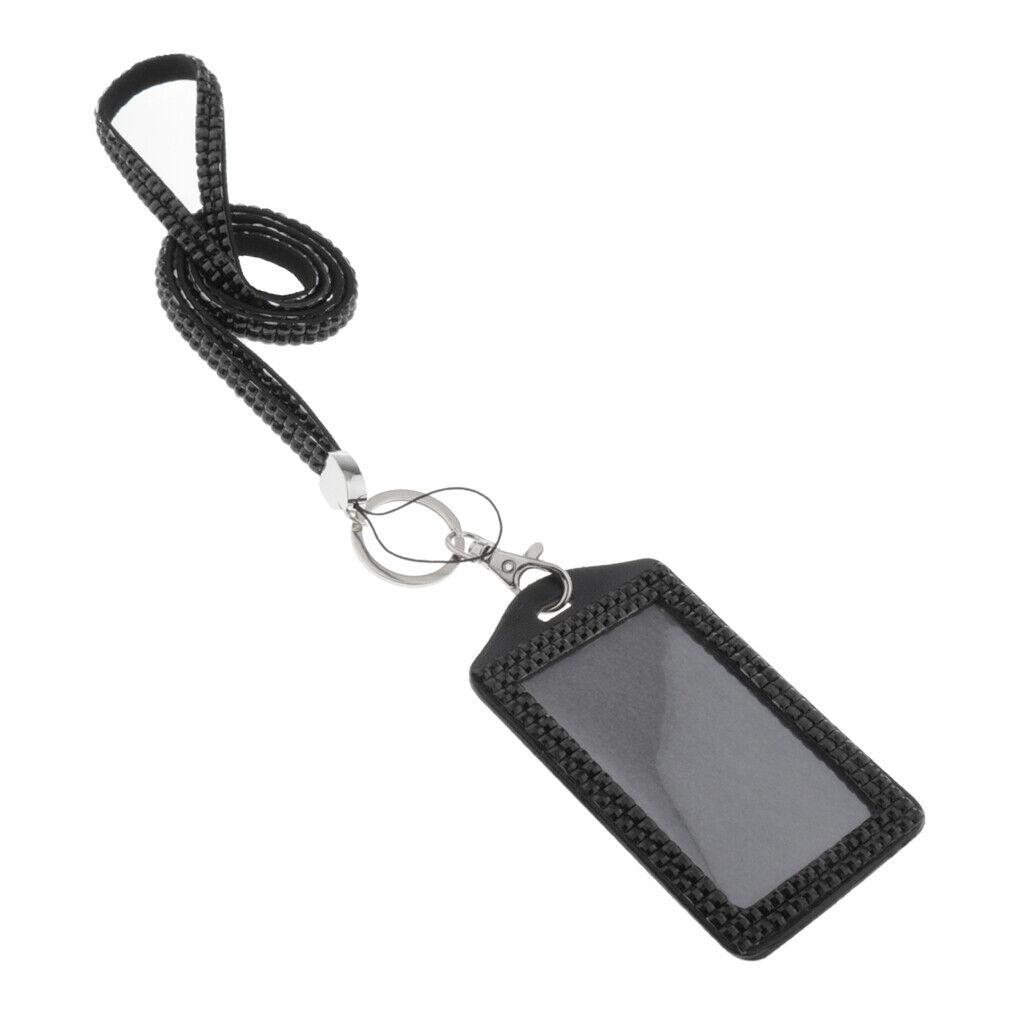 Porte-badge d'identification avec Lanière Longe en Résine Strass pour Carte