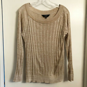 MISOOK-Textured-Tan-Knit-Light-Knit-Top-Pullover-Sweater-Size-M-398