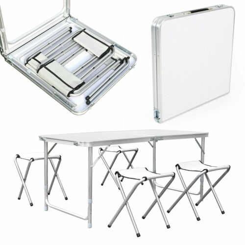 Campingtisch Klapptisch Gartentisch Falttisch mit 4 Stühlen aus Aluminium