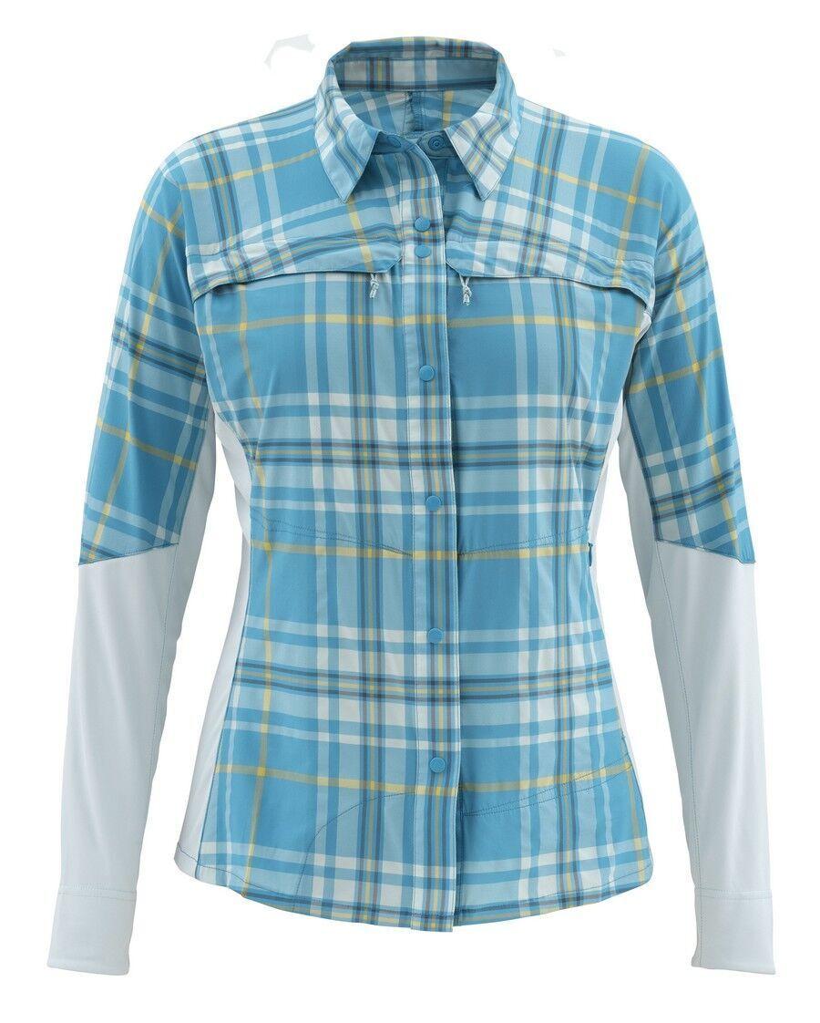 Simms Women's PRO REINA Long Sleeve Shirt  Lagoon Plaid NEW  Large  CLOSEOUT