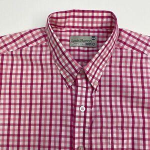 Louis-Barton-Button-Up-Dress-Shirt-Men-039-s-Size-44-Short-Sleeve-Pink-White-Check