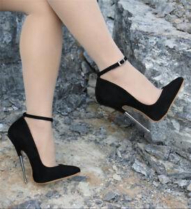 Women-039-s-Nightclub-Supers-High-Pointed-Toe-Stilettos-16cm-High-Heels-Strappy-Shoe