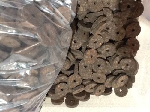 "Burnt Burl  1 1//4/"" X 1//4/"" X 1//4/"" Hole Cork Rings 4 Rings"