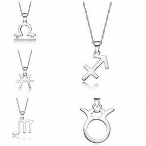 Trendy-Silver-Plated-Zodiac-Constellation-Charming-Chain-Necklace-Pendant