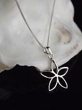 Solid Sterling Silver 925 Flower Outline Pendant Necklace Chain Jewellery Gift