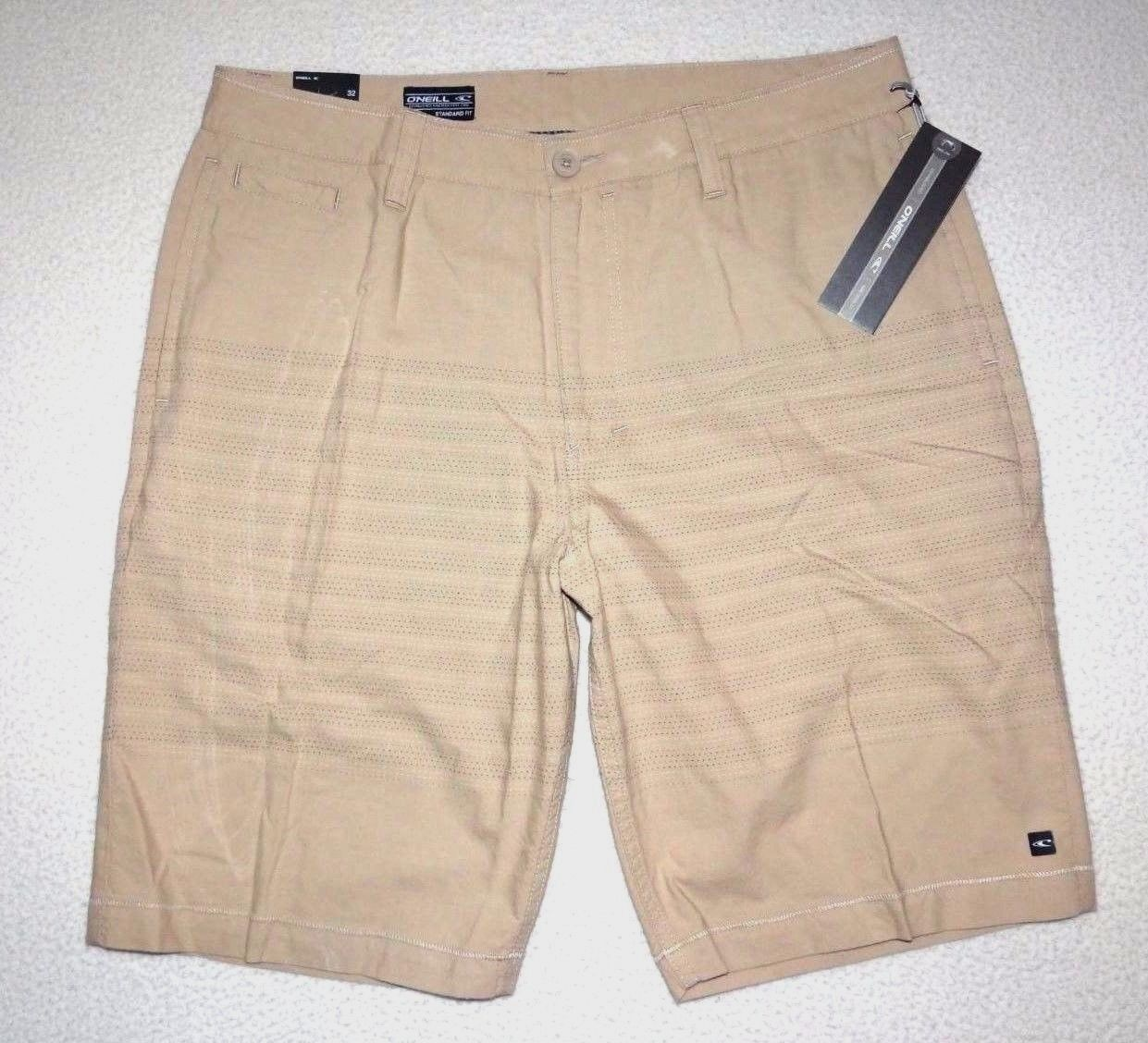 New O'Neill Mens Pinhead Stripe 21  Casual Cotton Walk Shorts Size 32