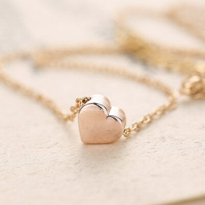 Tiny Rose Gold Heart Valentines Gifts Charm Pendant Necklace Bridesmaid Xmas NEW