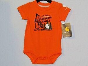 Carhartt infant boys orange 1pc w//snap closers Newest Member of Carhartt Family