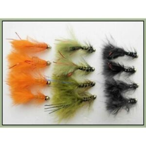 Trout-Flies-12-Gold-Head-Flash-Damsels-Mixed-Colours-Size-10-Fly-Fishing