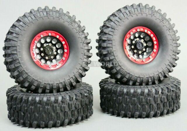 1/10 Scale Metal TRUCK WHEELS + TIRES 1.9 Beadlock Rims W/ Tires V1 Black + Red