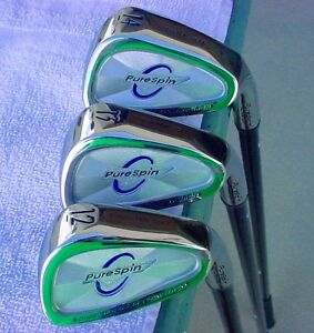 NEW-PURESPIN-STRAIGHT-FAT-SHAFT-WEDGE-SET-MADE-WITH-KEVLAR-52-56-60-DEGREES