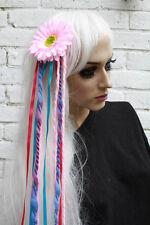 Pale Pink Flower hair clip with long wool dreads festival kawaii harajuku bridal