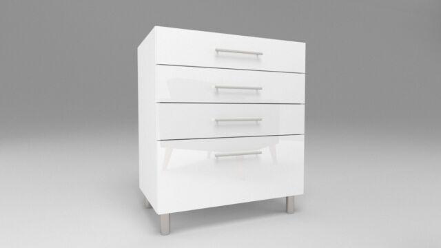 Küchen Unterschrank mit Schubladen Schubladenschrank Weiß 30-80cm Rellinggriff C