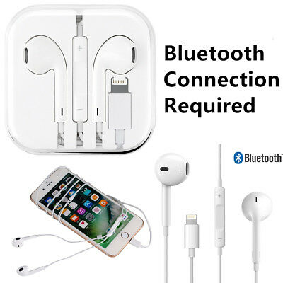 Lightning Connector Wired Bluetooth Earphone Headset For iPhone w/Microphone Lot