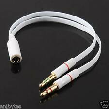 3.5 mm 1 female to dual 2 male Jack Audio Stereo Headset Mic Splitter Cable adap