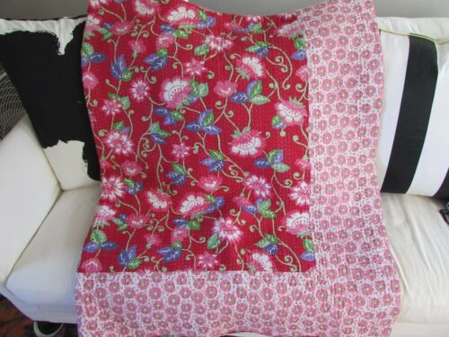 Twin POTTERY PARN TEEN Red Pink Purple Green FLOWER FLORAL QUILT BLANKET Reverse