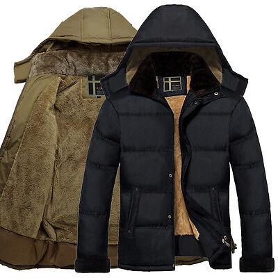 Uomo GIUBBOTTO IMBOTTITO giacca in pile cappotto con cappuccio Piumino Cappotti