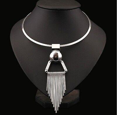 Fashion Vintage Women Chain Collar Bib Gold Statement Necklace Tassels Pendant