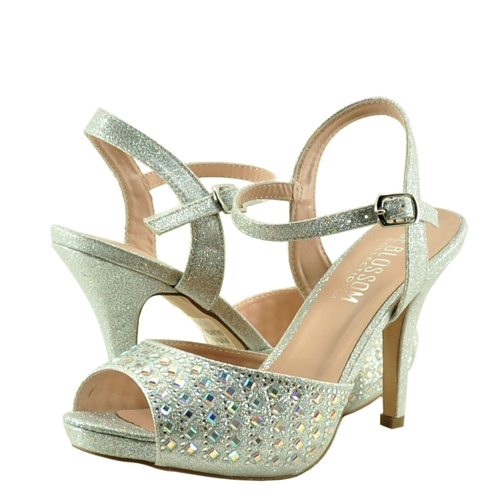 Women's shoes Blossom Robin 214 Peep Toe Crystal Strappy Heel Silver Sparkle New