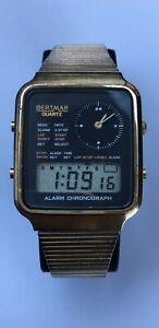 Vintage-Rare-BERTMAR-Analog-Digital-Watch-Alarm-Chronograph-Working