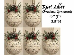 5 Primitiv Rustic Christmas Tree Ornaments Set Holiday Wreath Decoration Lot Vtg