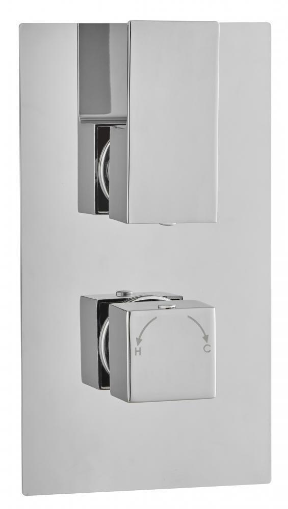 Oculta ducha termostática Mezcladora válvula moderno 2 Mango 1 vías de latón de salida