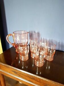STYLISH-ART-DECO-LEMONADE-SET-JUG-6-GLASSES-CIRCA-1930
