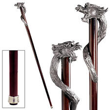 Wicked Sorcerer Dragon Serpent Pewter Hardwood Gentleman's Walking Stick Cane