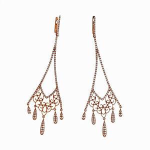 44b79de704bcd5 Long Dangle Earrings 14k Rose Gold Micro Pave 1.14ct Diamond Retired ...