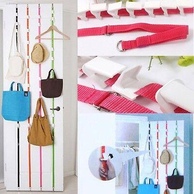 2 x Over Door Straps Hanger Adjustable Hat Bag Coat Rack Organizer 8 Hooks Pink