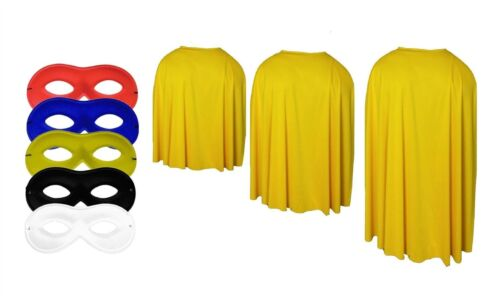 Adults Yellow Super Hero Cape With Any Colour Eye Mask Fancy Dress