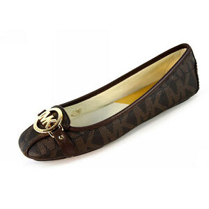 Michael-Kors-Flats-MK-Shoes-Fulton-Moccasin-MK-Signature-Leather-Brown-Size-8