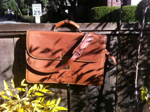 tiffany and fred denise locking leather briefcase