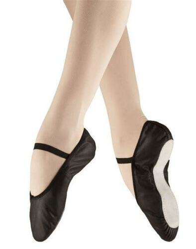 BLACK LEATHER FULL SUEDE SOLED BALLET SHOES WITH ELASTICS FITTED