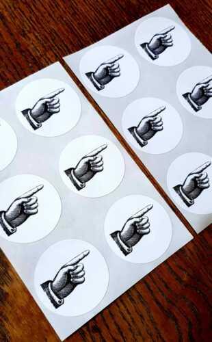 Pointing Hand Seals Vintage Style Envelope Steampunk Stickers Finger x12 Crafts