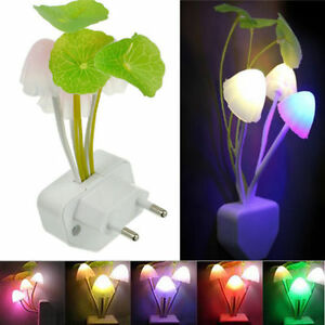 cute mushroom shaped sensor night light led lamp eu/us plug kawaii