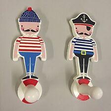 Gisela Graham Children's Set of 2 Boys Pirate Nautical Coat Hooks Bedroom