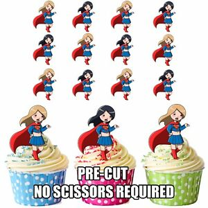 Image Is Loading Cartoon Supergirl Superwomen Cake Toppers Precut Edible Wafer