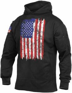 Distressed US Flag Hoodie American Flag Sweatshirt