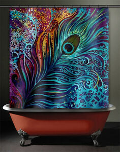Image Is Loading Peacock Feather Shower Curtain Fabric Aqua Teal Turquoise